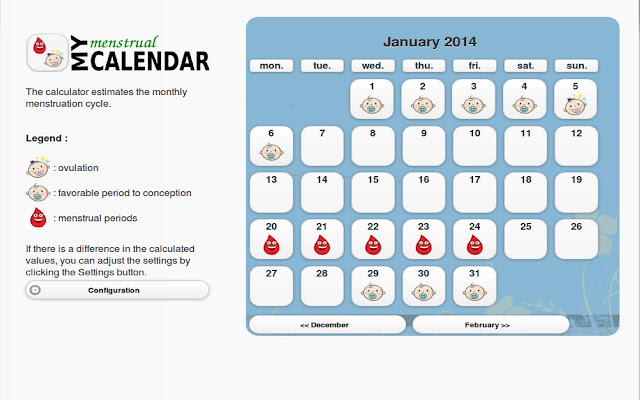 My menstrual calendar is simple and pleasant to use. The calculator ...