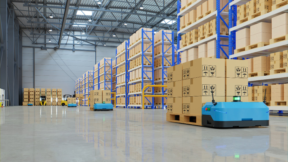 futuristic image of robots carrying inventory in Amazon warehouse