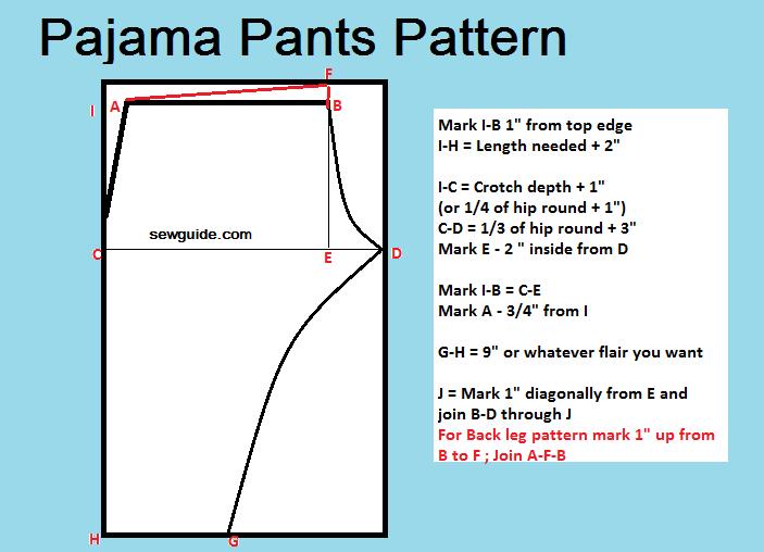 patrón de costura de pantalones de pijama