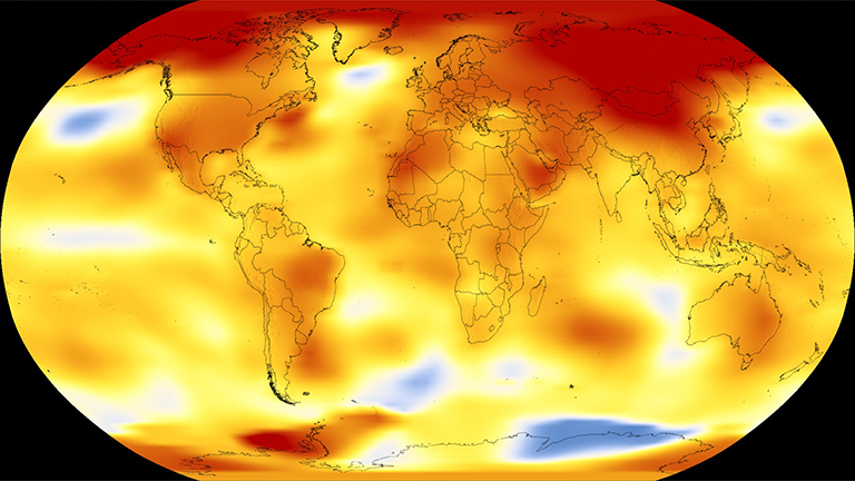 NASA and NOAA are two keepers of the world's temperature data and independently produce a record of Earth's surface temperatures and changes. Shown here are 2017 global temperature data: higher than normal temperatures are shown in red, lower than normal temperatures are shown in blue. Credit: NASA's Scientific Visualization Studio