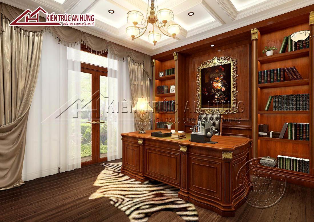 Phòng làm việc sử dụng gỗ tự nhiên ốp tường, cho bàn làm việc, sàn; lụa làm rèm cửa, da thuộc làm thảm trải sàn mang đến vẻ đẹp sang trọng, đẳng cấp
