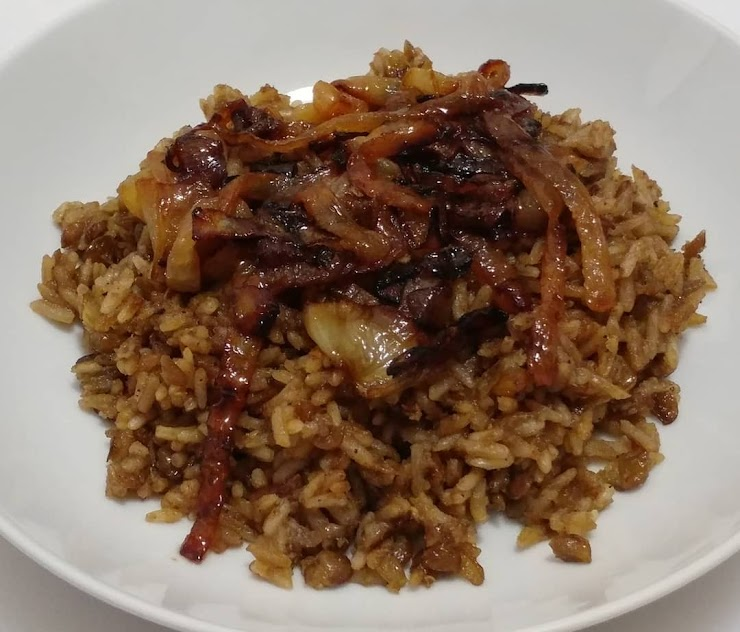 Mujaddara - Rice Pilaf with Green Lentils and fried Onions. It has nice cumin flavor.  (Vegan, GF)