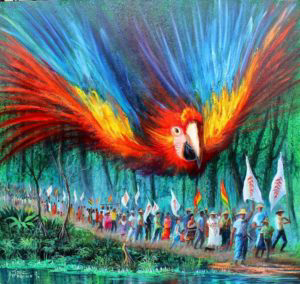 Descripción: http://journal.workthatreconnects.org/wp-content/uploads/2017/04/painting-parrot-lucha-de-los-pueblos-300x284.jpeg