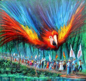 Descripción: http://journal.workthatreconnects.org/wp-content/uploads/2017/04/painting-parrot-lucha-de-los-pueblos-300x284.jpeg