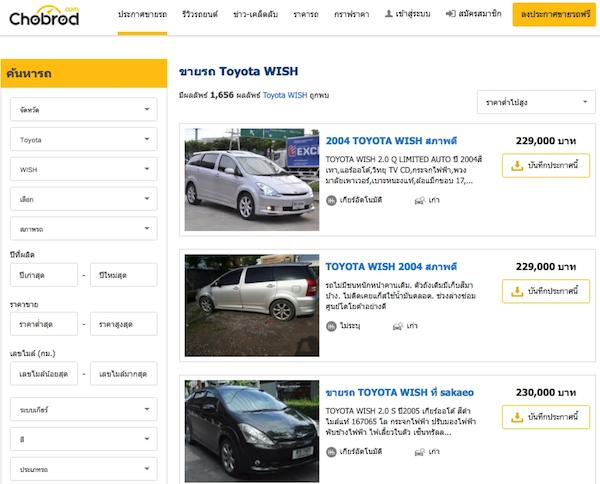 ตัวเลือก Toyota Wish มือสองมีให้เลือกมากมายตามสภาพ Chobrod.com