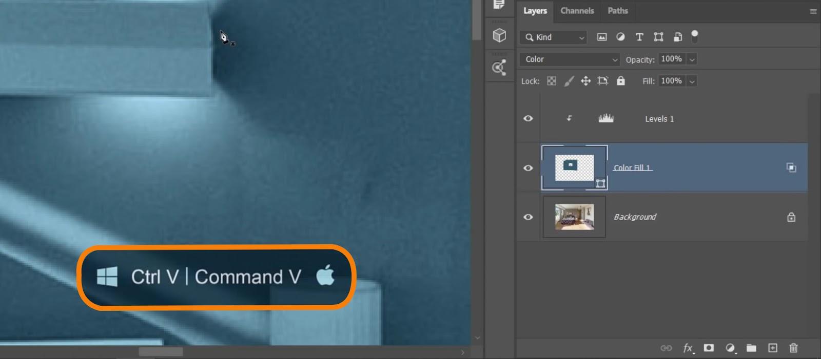 Press Ctrl V (Windows) or Command V (macOS)
