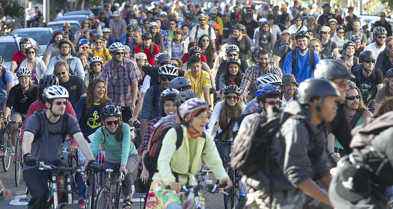 Bicycle Music Festival fans ride together.