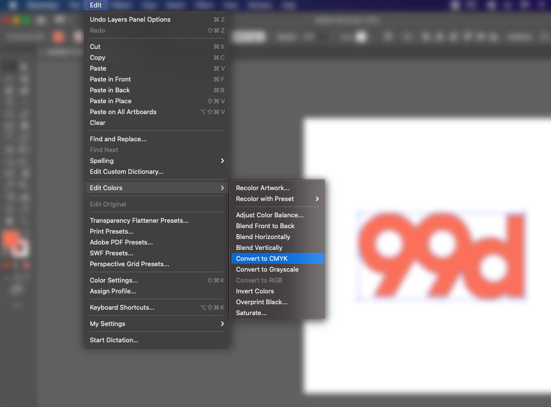 Screenshot of Adobe Illustrator interface showing how to convert the color mode