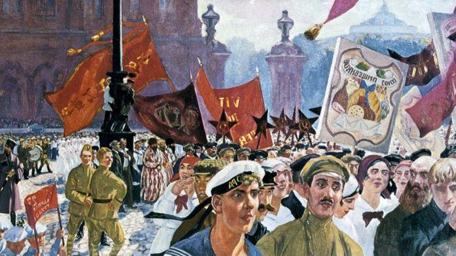 Торжества по случаю открытия II конгресса Коминтерна в Петрограде в 1921 году (художник Борис Кустодиев)
