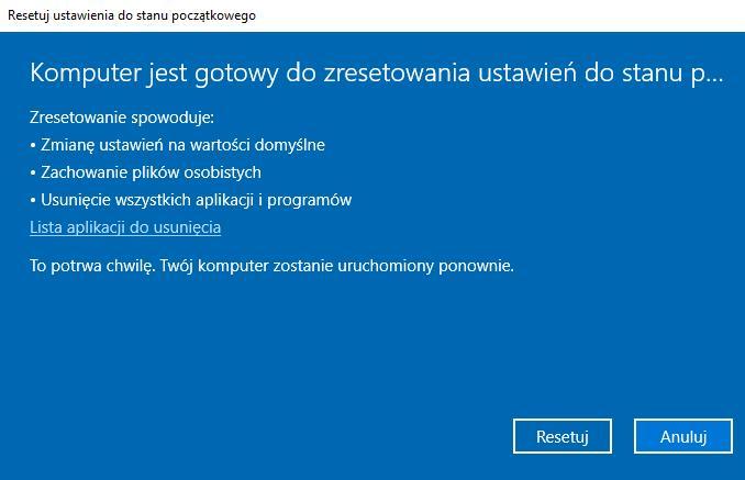 Windows 10 Resetowanie ustawień do stanu początkowego