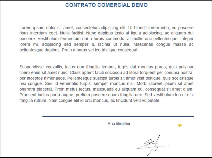 Documento firmado con firma biométrica