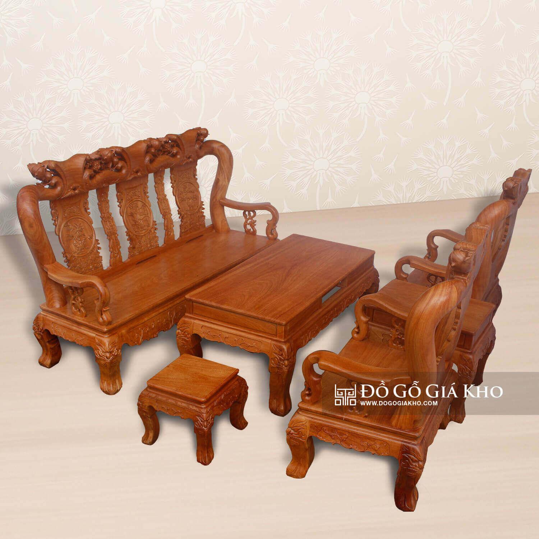 Salon gỗ Gõ Đỏ chạm Đào - BG052