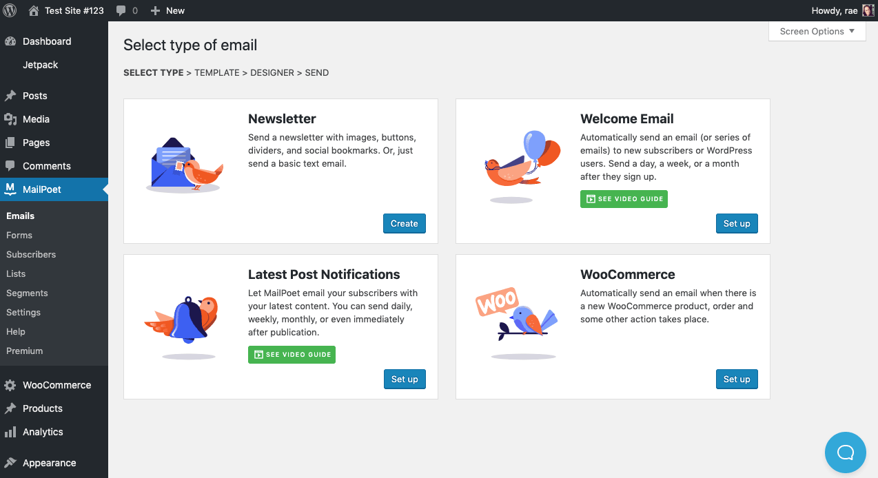 Select type of email in MailPoet