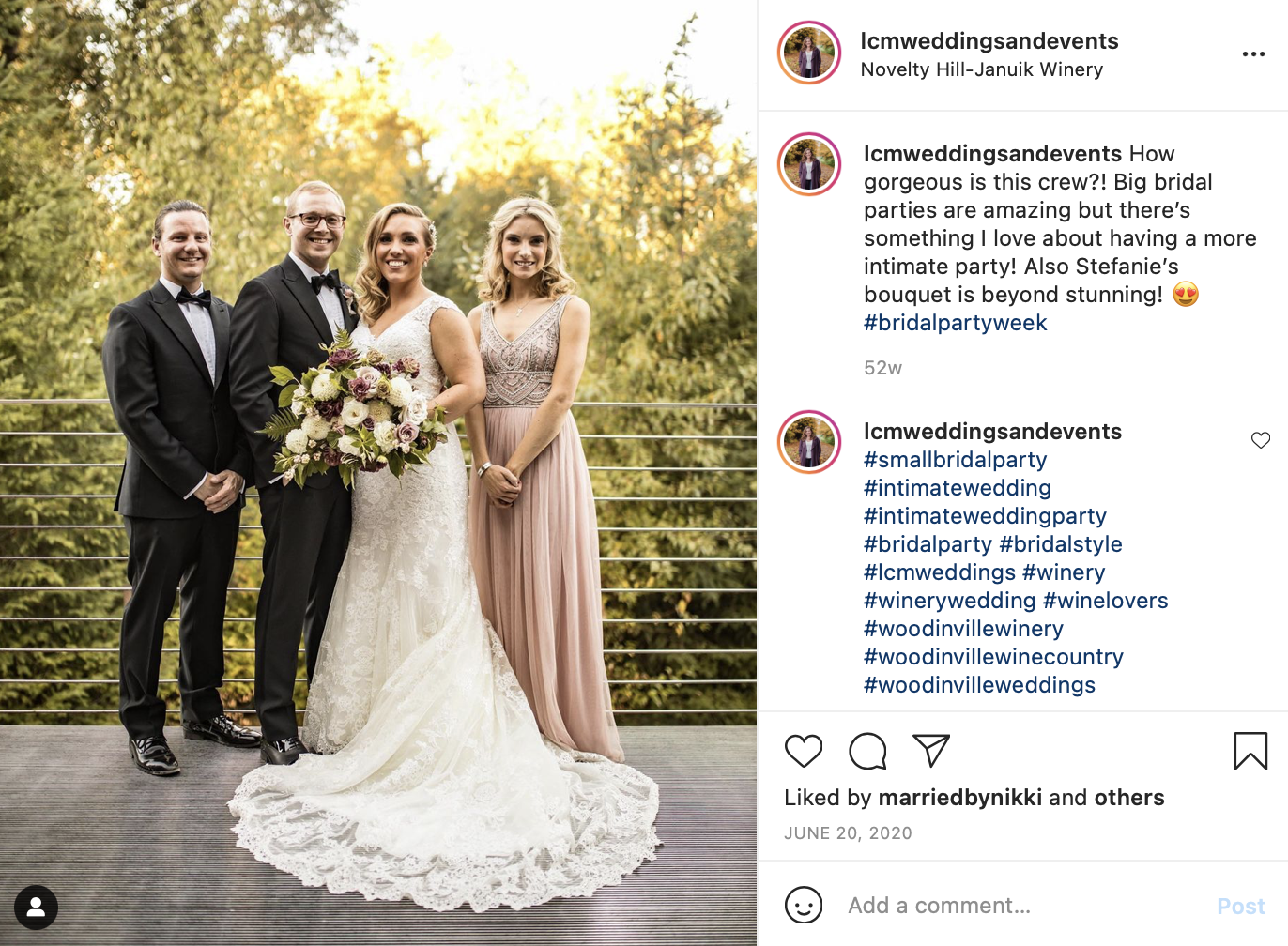 Bride with three friends
