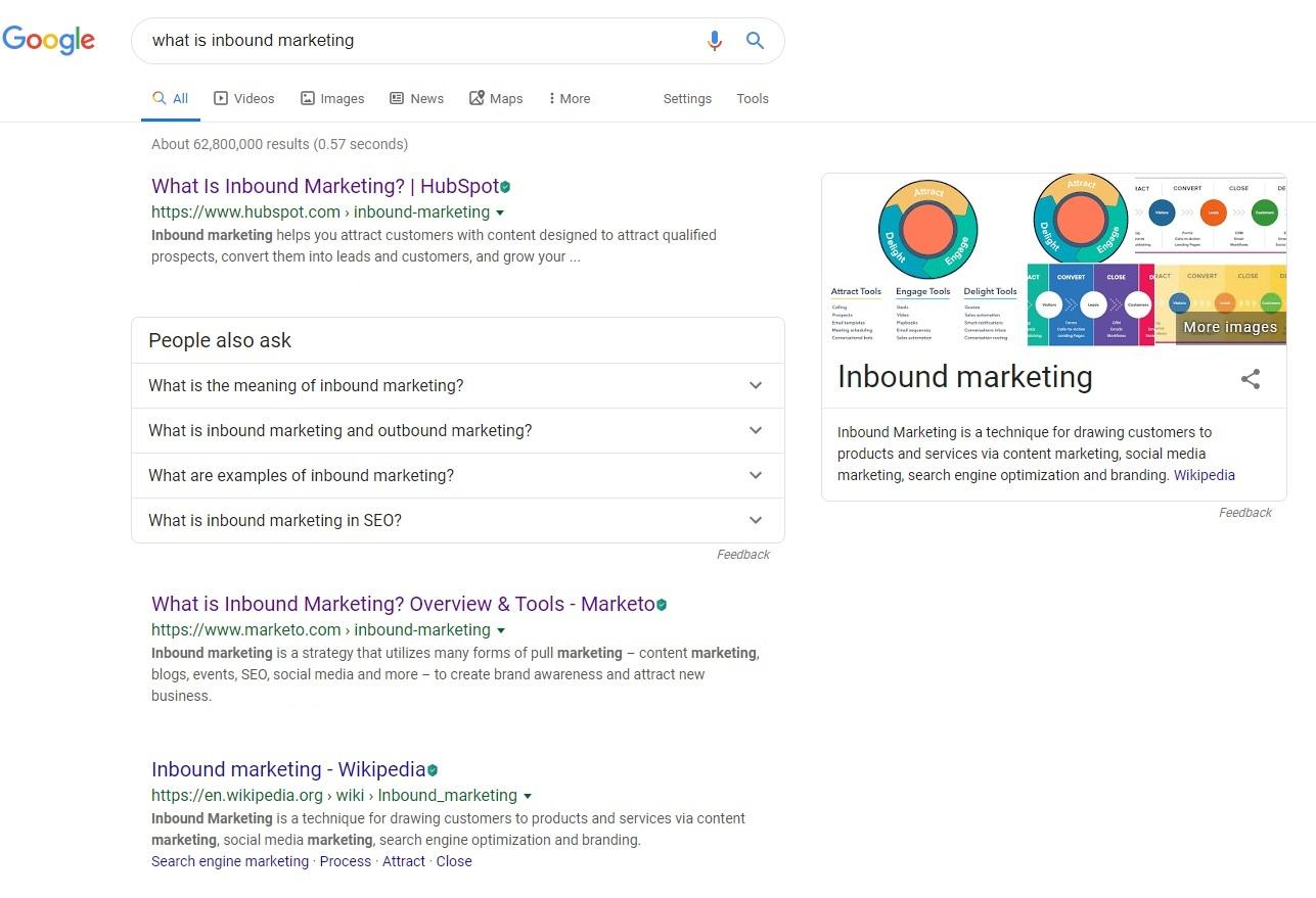 "Google search results for ""what is inbound marketing"""
