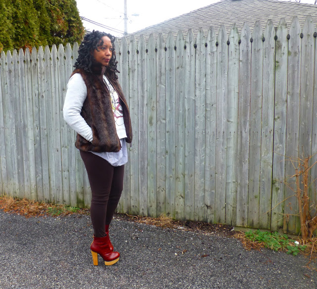 faux fur vest and leggings