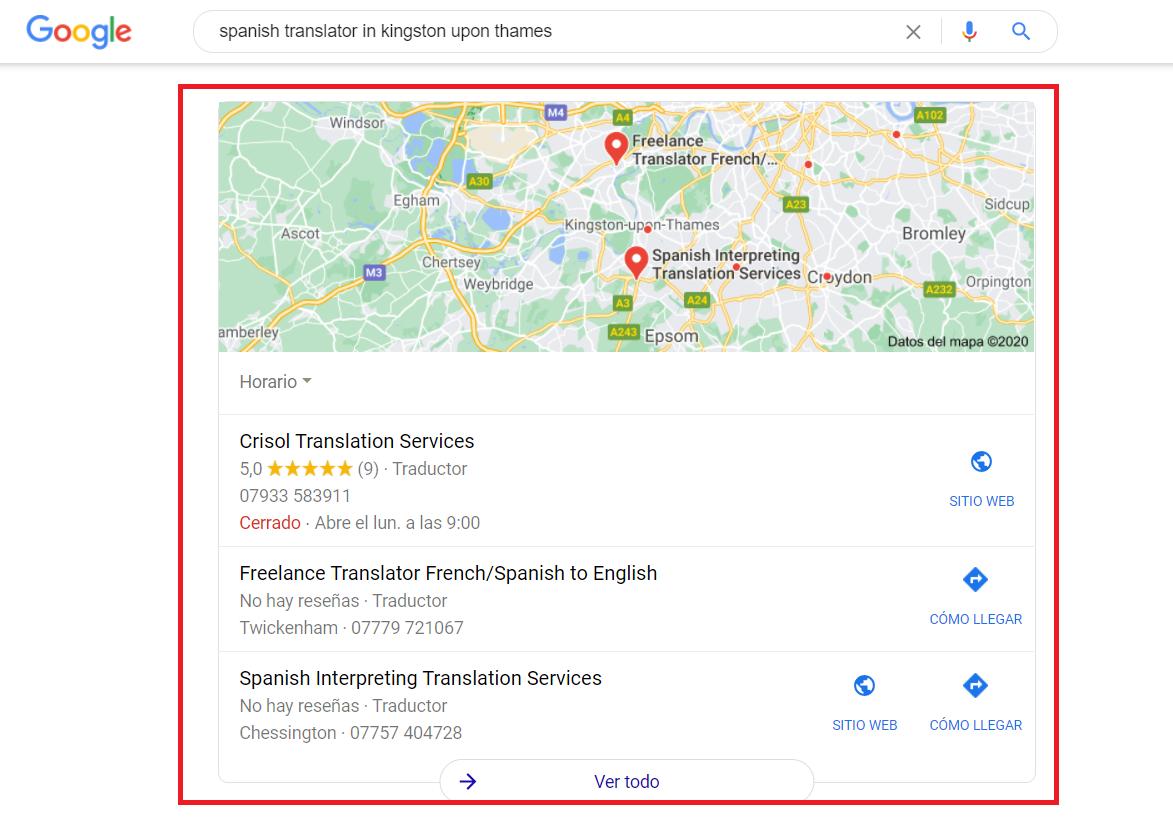 Screenshot of 3-pack hyperlocal result on Google