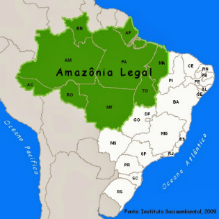 Mapa da Amazônia Legal. Fonte: ISA/reprodução