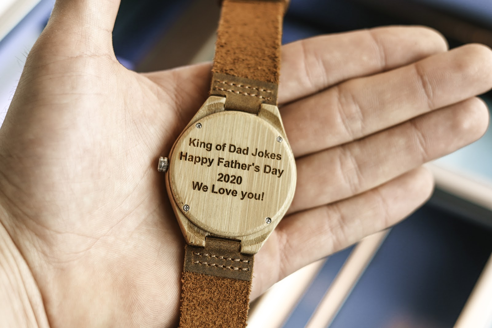 "Wooden watch engraved with quote that says ""King of Dad Jokes Happy Father's Day 2020 WE Love You!"