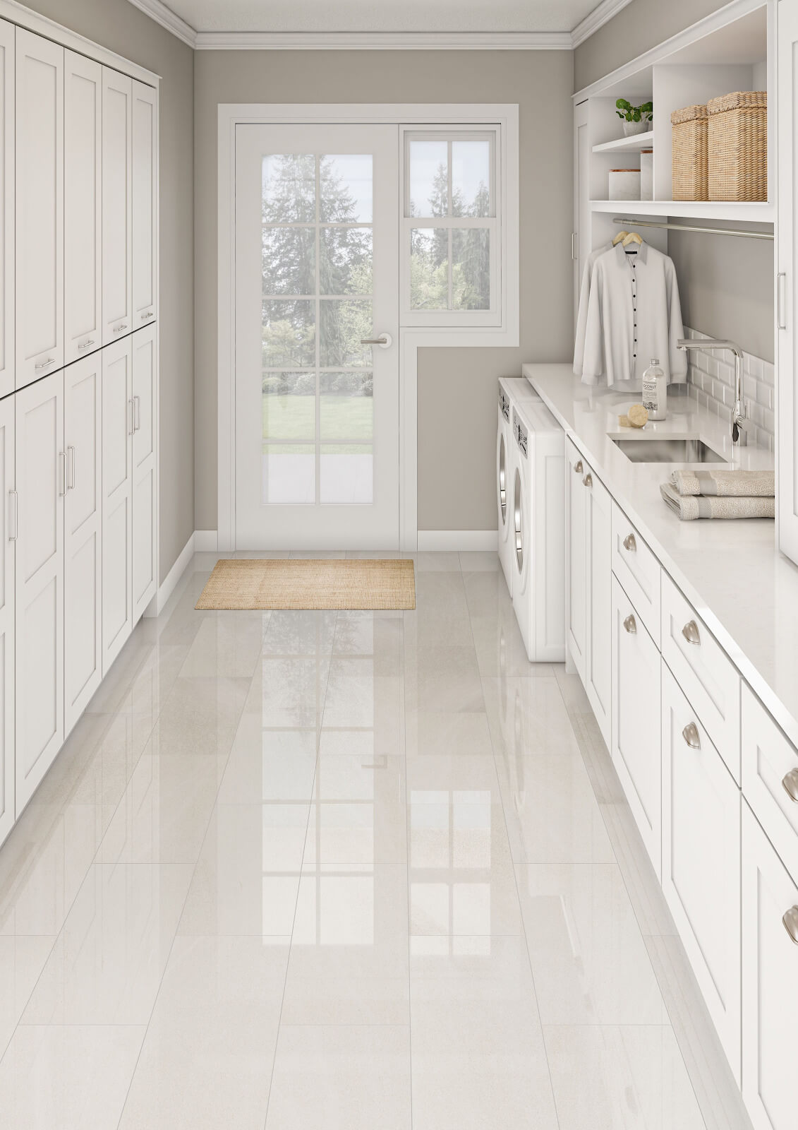 Laundry room with white tile flooring
