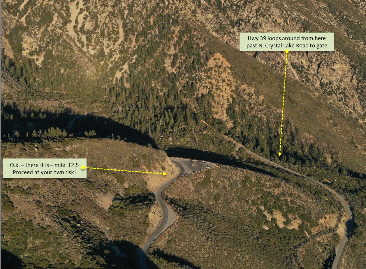 Beginning of Dawson Saddle bike climb into the San Gabriel Mountains.