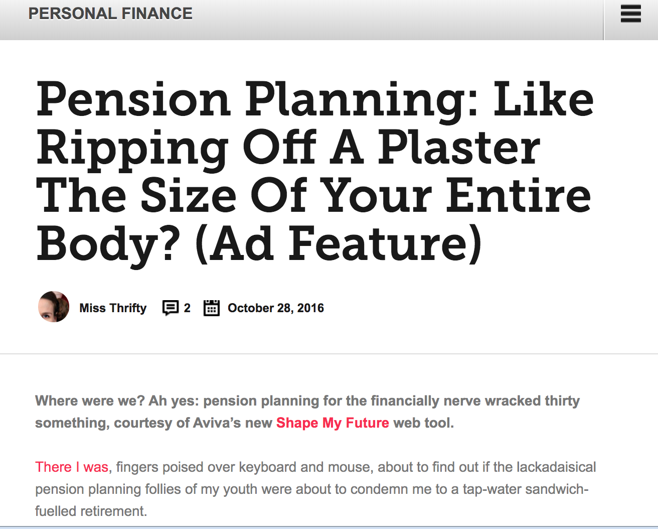 pension planning: like ripping off a plaster the size of your entire body?