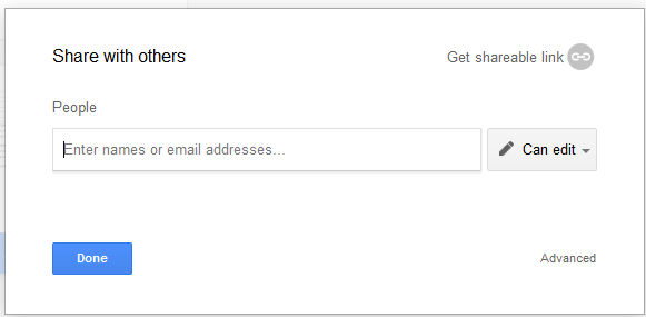 Google Docs Share Field