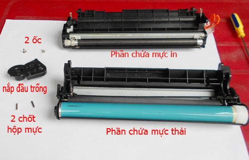 Đổ mực thải đi khi thay mực cho máy in