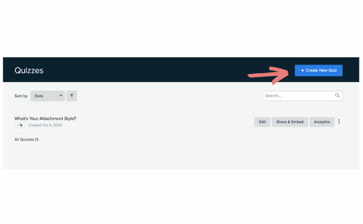 Interact dashboard showing where Create new quiz button is located