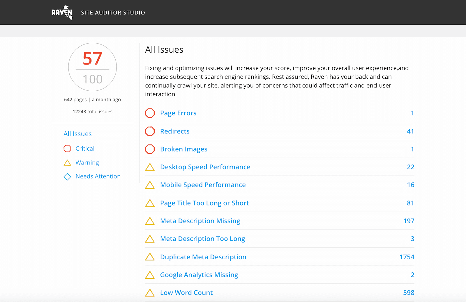 Website Auditor from Raven Tools