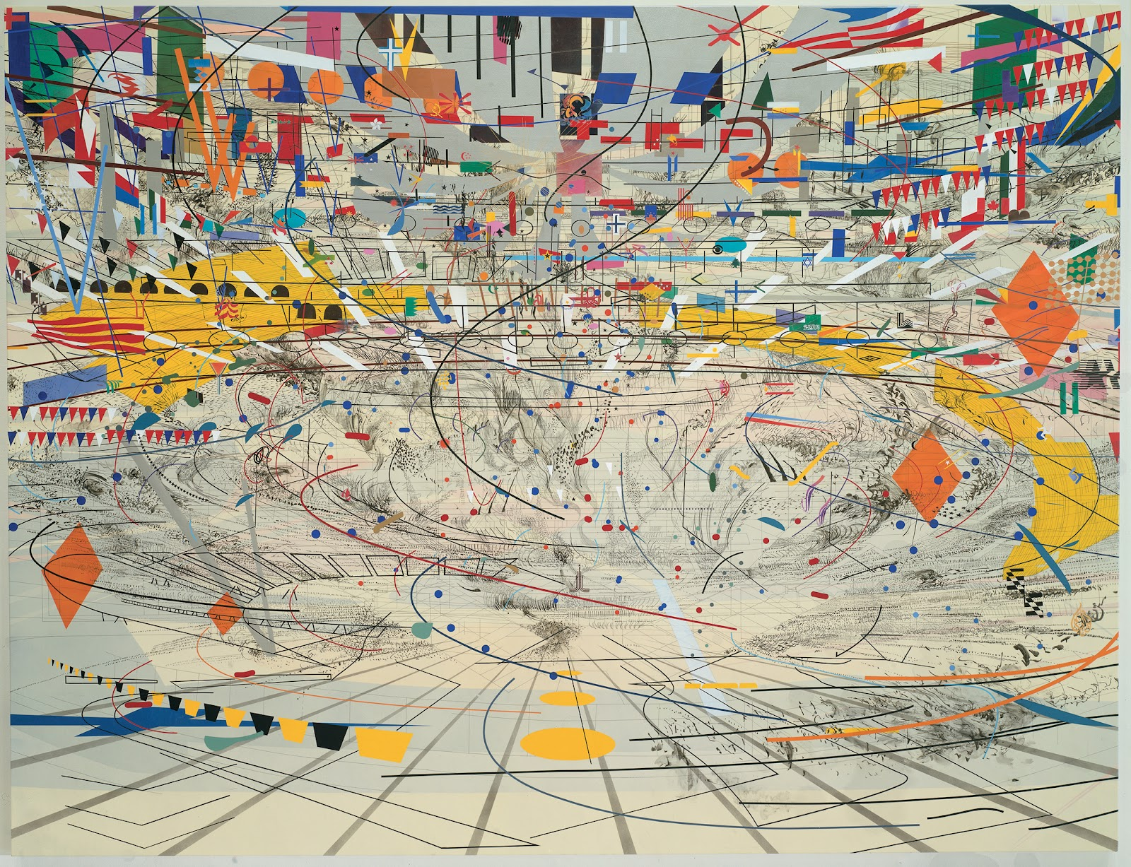 Stadia II - Julie Mehretu (2004), ink and acrylic on canvas