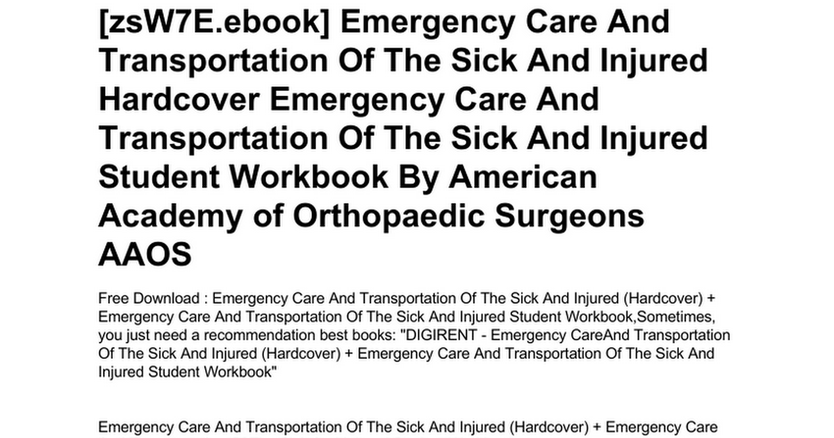 Emergency care and transportation of the sick and injured best emergency care and transportation of the sick injured best advanced fandeluxe Choice Image