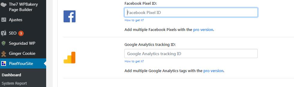ID para instalar el código de Facebook