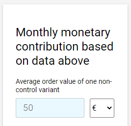 Monthly monetary contribution in CXL calculator