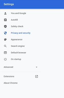 go to chrome settings and click on privacy and security
