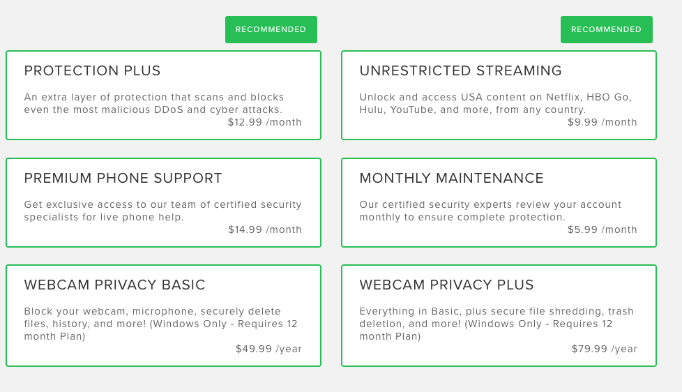 VirtualShield features