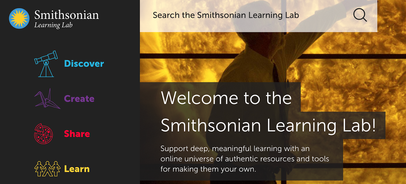 Image of Smithsonian Learning Labs welcome screen.