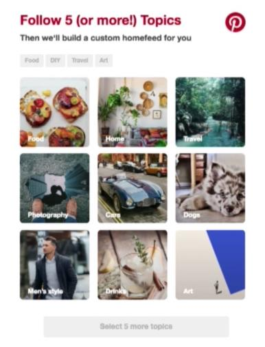 Google AMP email Pinterest follow topics