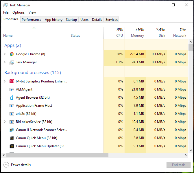inteface of task manager