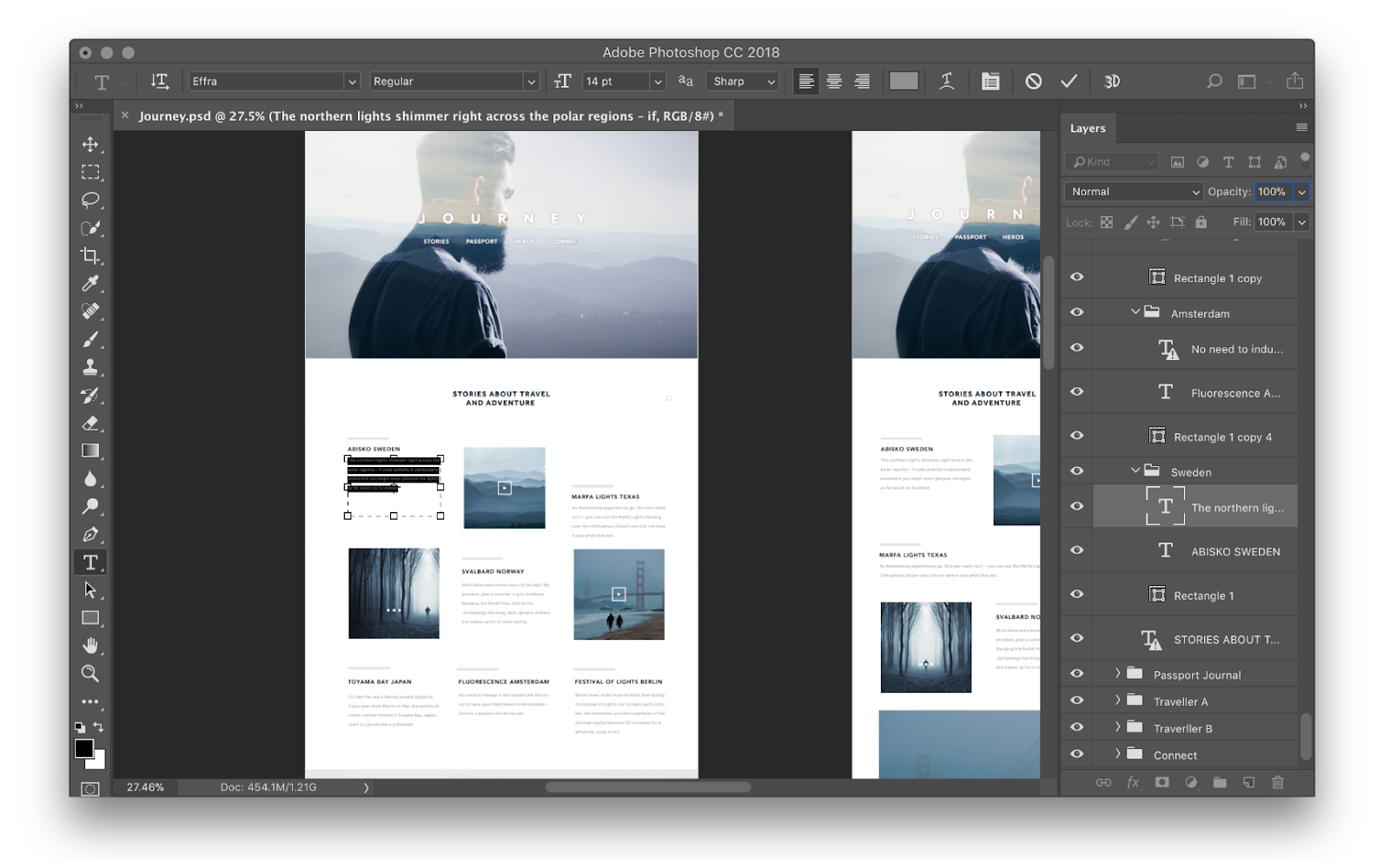A website mockup being designed in photoshop