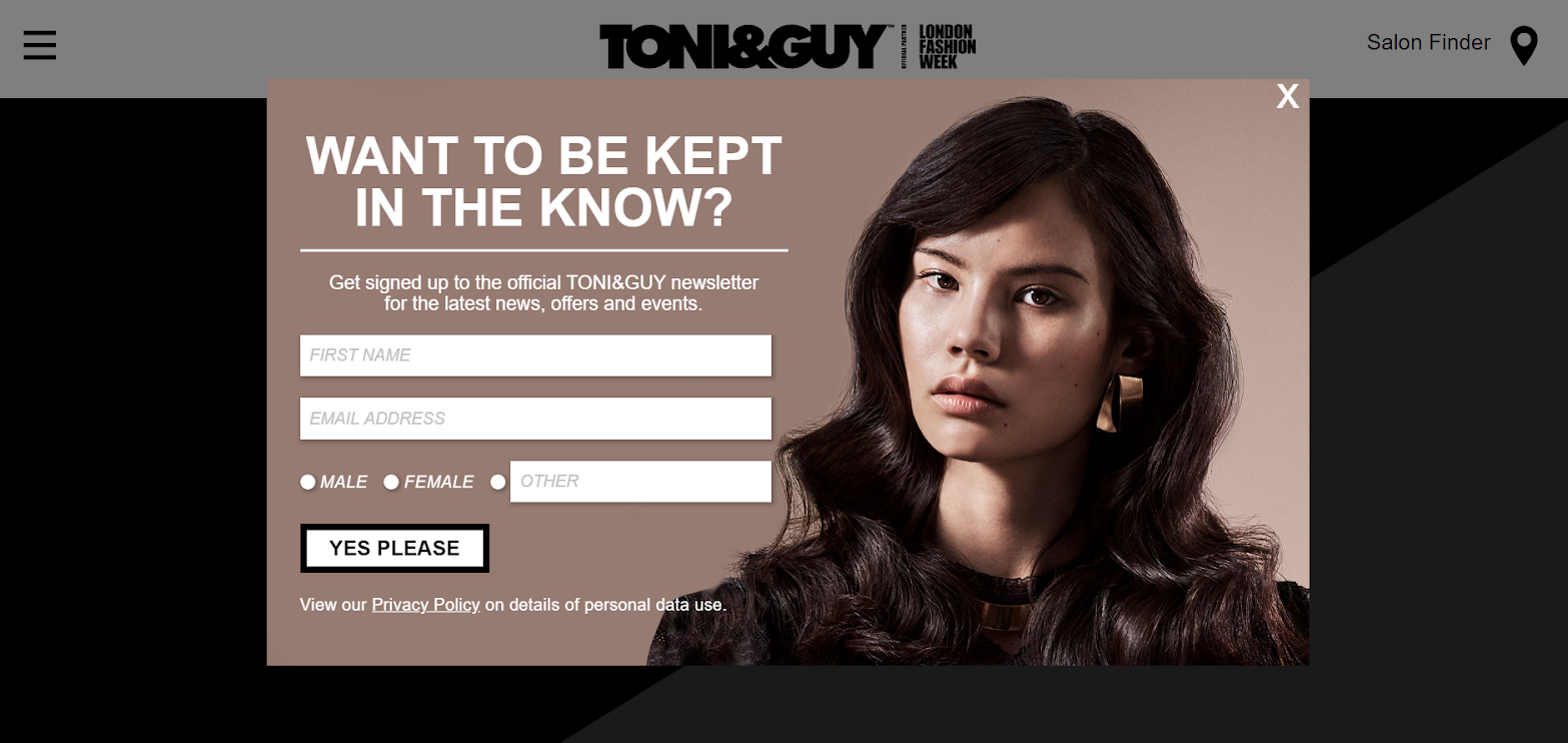 Empty information form for toni&guy