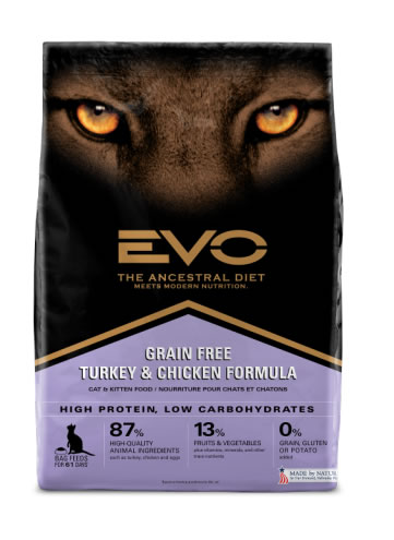 Label, EVO Turkey and Chicken Cat Food
