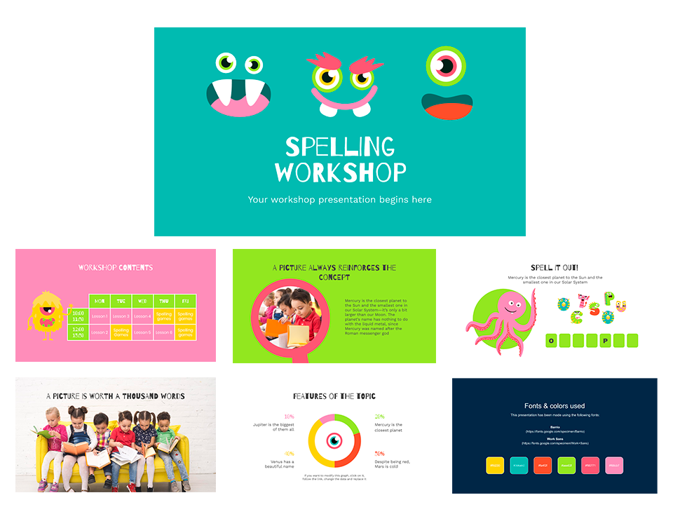 A presentation with bright colors