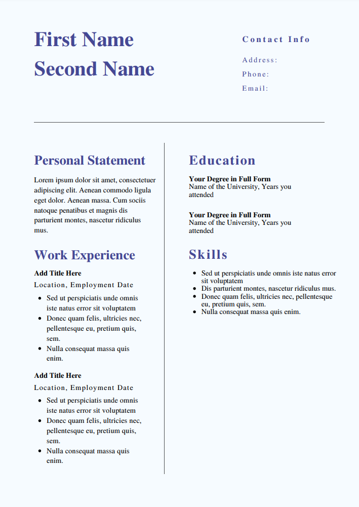 CV templates for teaching assistant (TA)