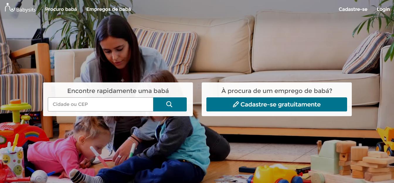 home page da baysits - plataforma para encontrar babá