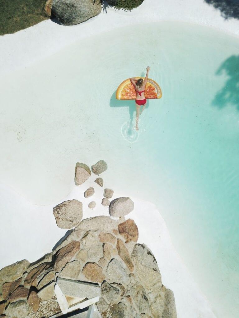 Girl swimming in Seychelles