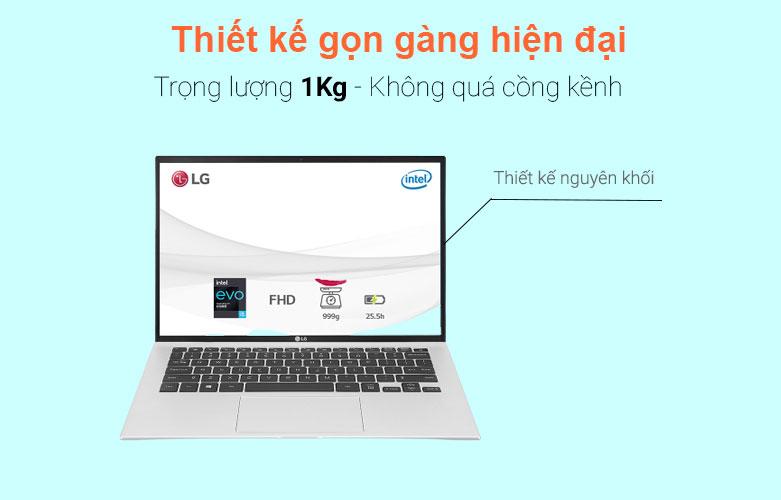 Laptop LG Gram 2021 14ZD90P-G.AX56A5 (i5-1135G7) (Bạc) | Thiết kế gọn gàng