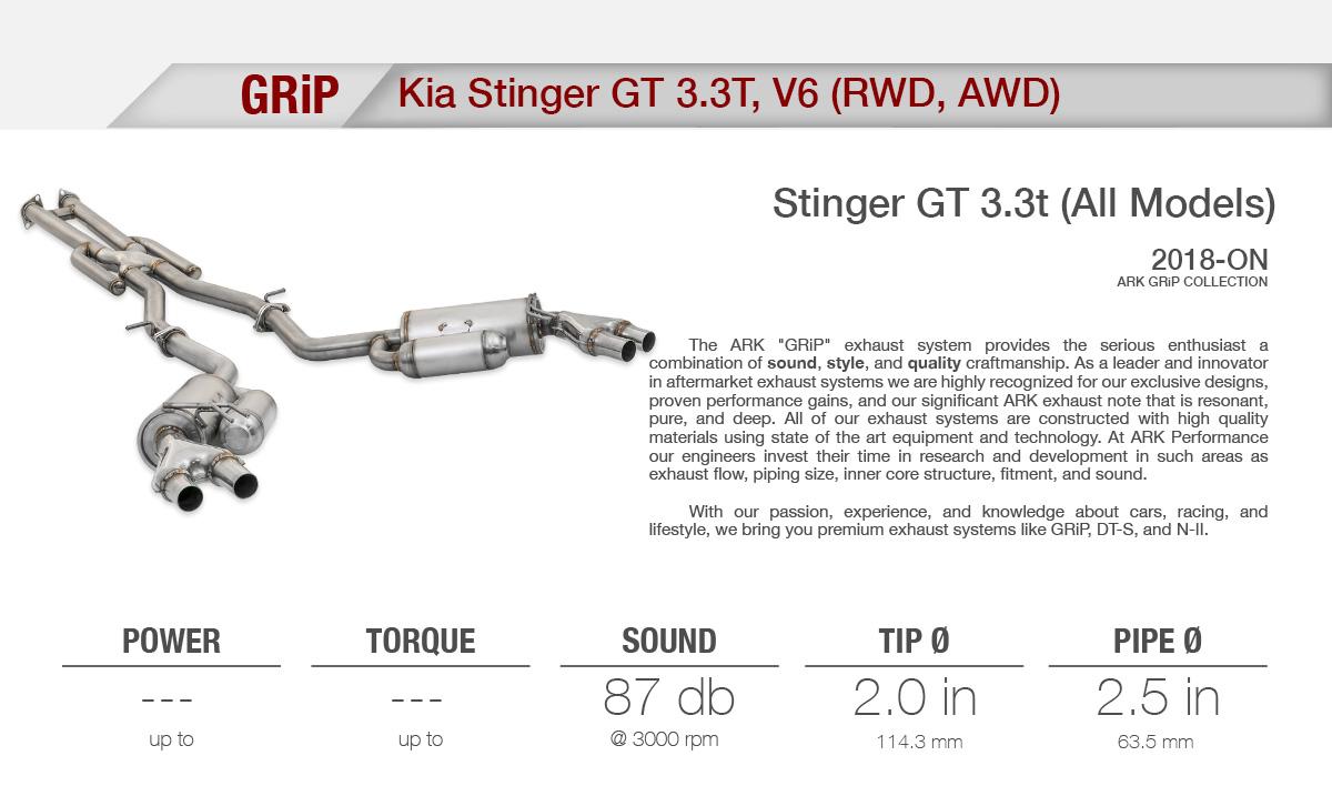 ark performance grip catback system kia stinger 3 3tt. Black Bedroom Furniture Sets. Home Design Ideas