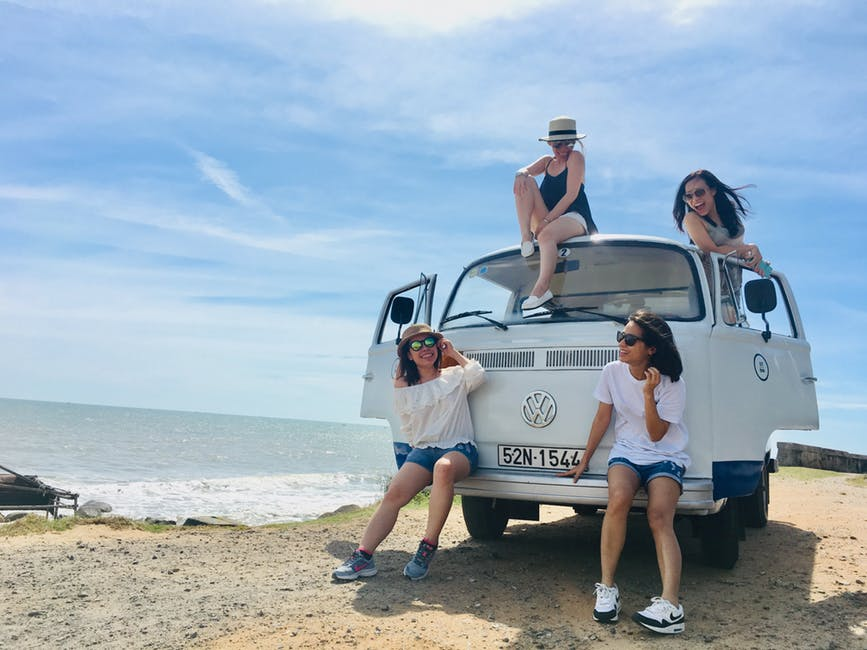 Four Women and a Volkswagon Van.