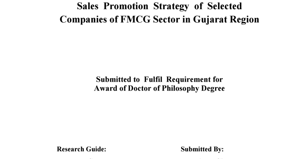 effect of sales promotion in fmcg products Likewise, despite the effects of sales promotion, there had been insufficient research and decision modeling devoted to it what improvement will promotional strategies have on fmcg of unilever nigeria plc products as a means of referral on various brand.